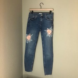 Zara Embroidered Floral Skinny Jeans